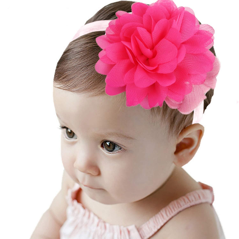 Adramata 15PCS Baby Girls Headbands Set for Toddlers Baby Girls Chiffon Flower Bow Hair Accessories Elastic Band