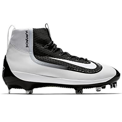 Nike Mens Air Huarache 2kfilth Elite Mid Metal Cleats 8 US Black/White