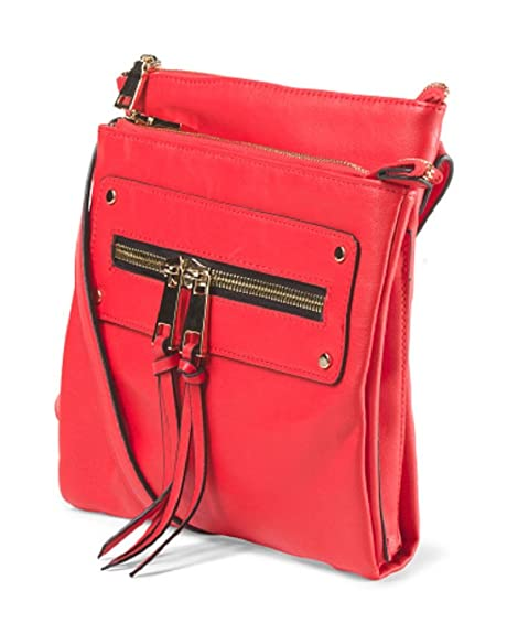 750bd62573e0 La Terre Fashion Crossbody Handbag with Zippers Red: Handbags ...