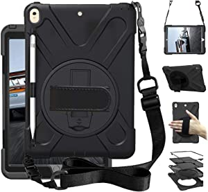 "iPad Air 3 10.5"" 2019 Case, iPad Pro 10.5 Case 2017, Heavy Duty Carrying Rugged Protective Case with 360 Degree Rotating Stand, Handle Hand Grip Shoulder Strap for Apple Tablet Cover Skin Kids Black"
