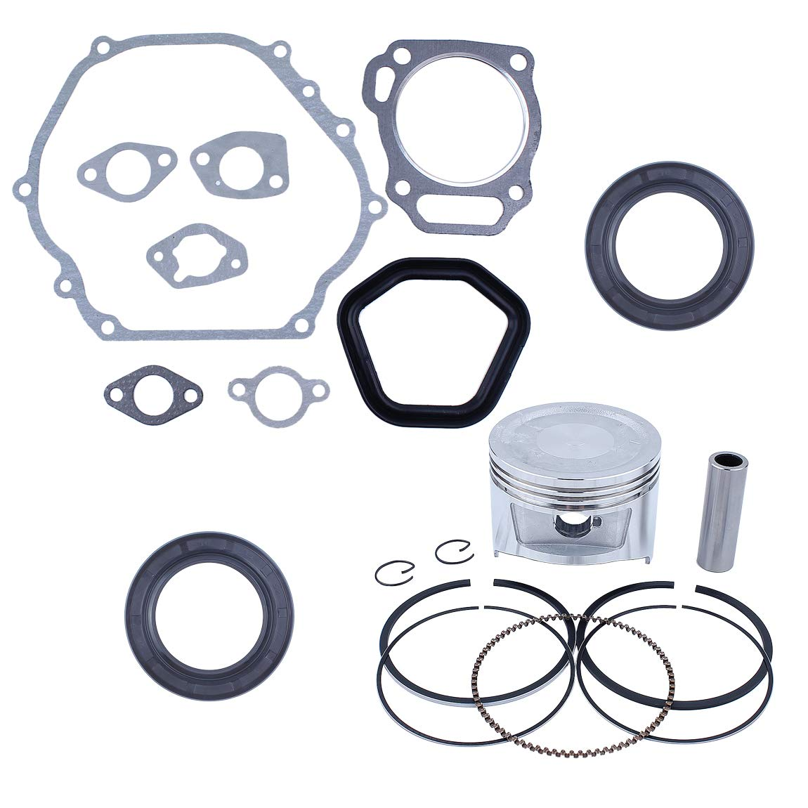 88mm Piston Rings Crankshaft Oil Seal Gasket Rebuild Kit for Honda GX390 188F E6500 5/6.5kw Gasoline Engine Generator Water Pump by Haishine
