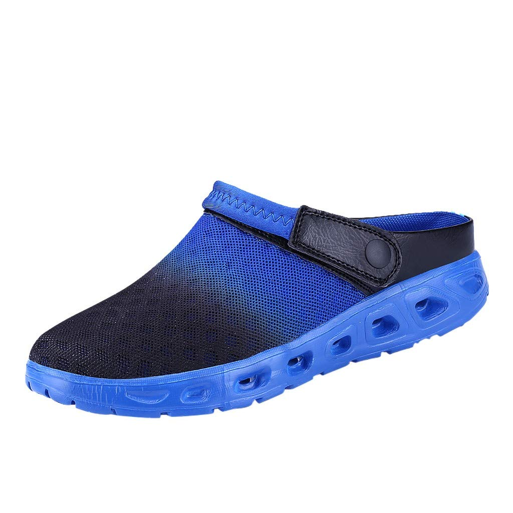 Kinglly Summer Men Gradient Color Mesh Breathable Slippers Beach Sandals Hole SportsShoes Clogs Moccasins Dark Blue by Kinglly Shoes