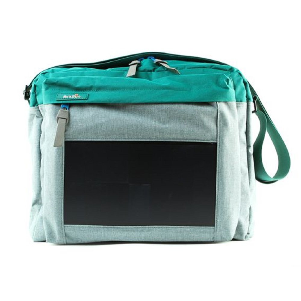 BirkSun Connect Solar Battery Charger Messenger Pack, Teal and Grey by BirkSun