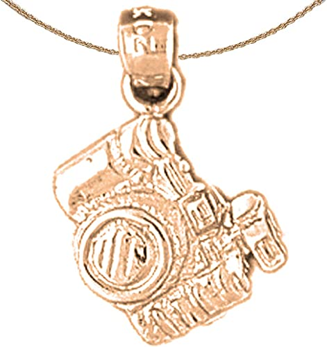 Jewels Obsession Video Camera Necklace 14K Rose Gold-plated 925 Silver Video Camera Pendant with 18 Necklace