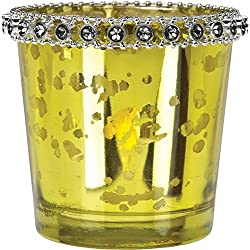 Cultural Intrigue Luna Bazaar Vintage Mercury Glass Candle Holder with Rhinestones (2.5-Inch, Lila Design, Chartreuse Green) - For Use with Tea Lights - For Parties, Weddings, and Homes
