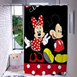 DISNEY COLLECTION Shower Curtain Mickey with Minnie Bathroom Shower Curtains with Hooks