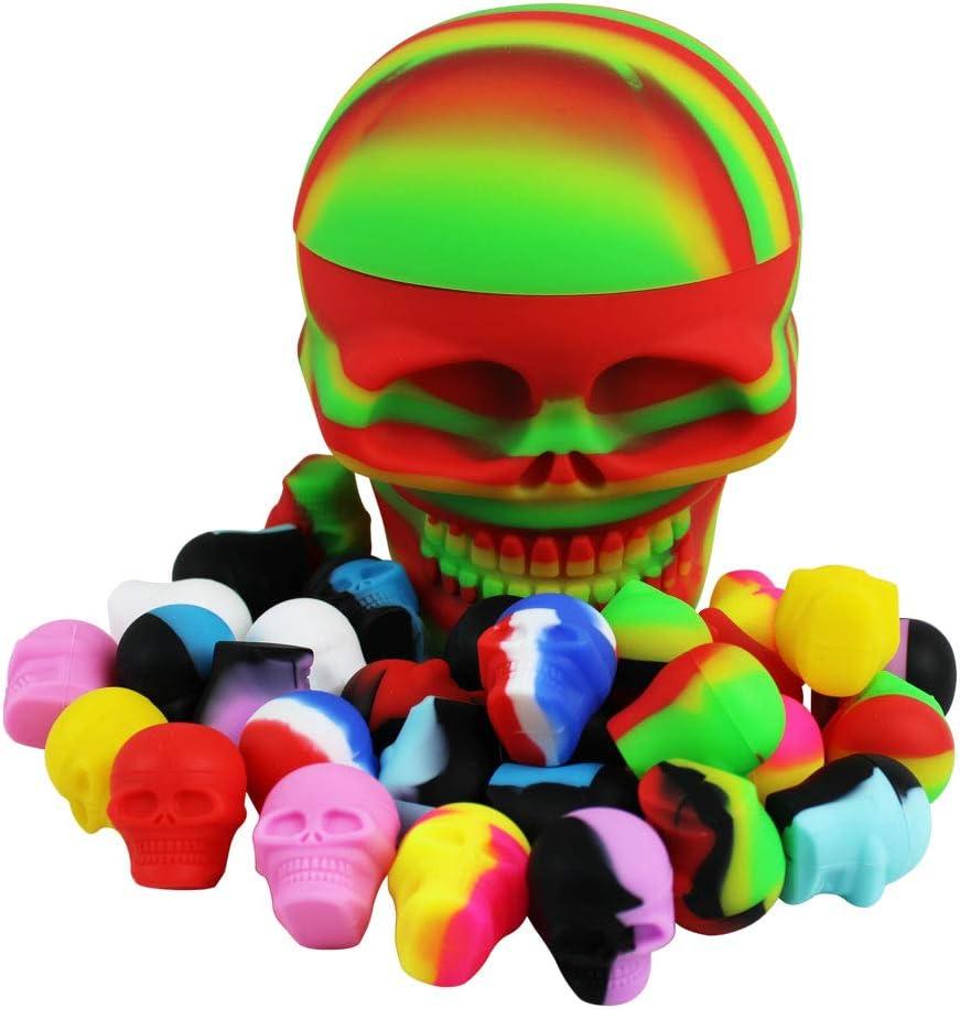 100x//20x 5//500ml Skull Silicon Container Non-Stick Oil Shatter Wax Storage  D
