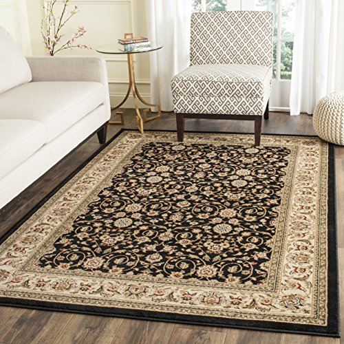 Safavieh Lyndhurst Collection LNH316B Traditional Oriental Black and Ivory Area Rug 4 x 6
