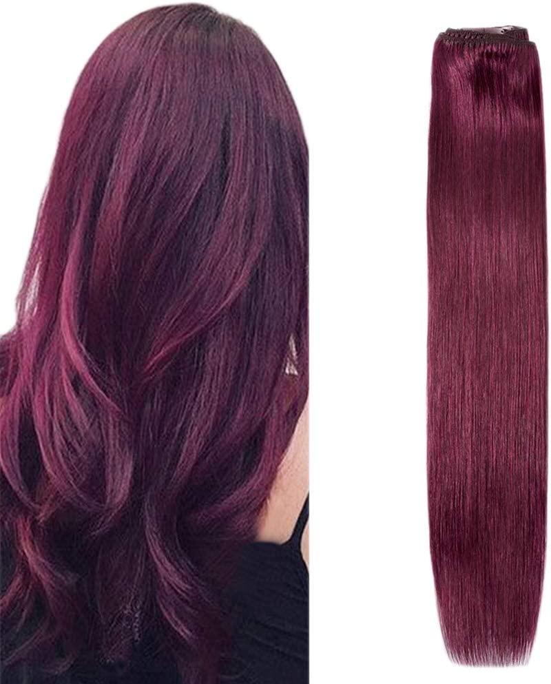 Komfami Extensión de cabello Remy con clip, tramas dobles, cabello humano real, suave liso y sedoso, grado 7A, 100 gramos [45cm] #99j Vino tinto, Rojo ...