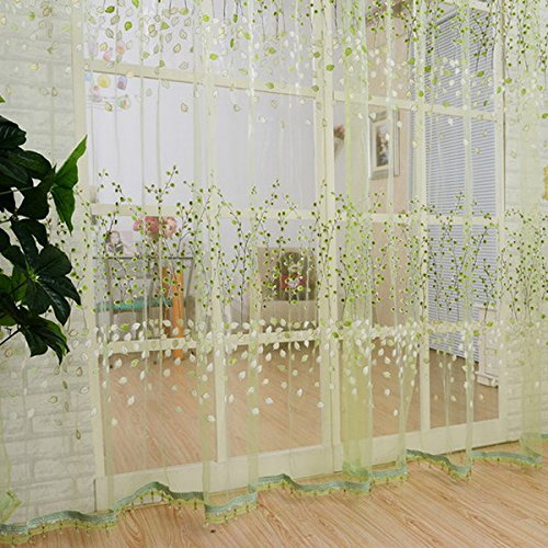 1M2M Romantic Curtains Voile Tulle Flower Door Valances Panel Window Balcony For Home Decor