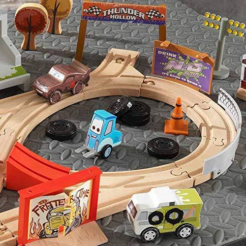 Disney KIDKRAFT Pixar Cars 3 Thunder Hollow 50 Piece Wooden Track Set with Accessories