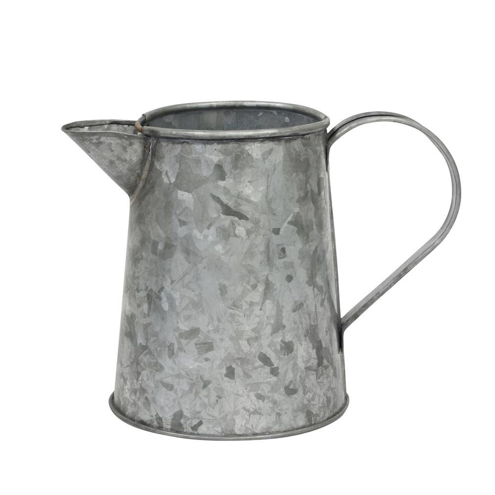 Stonebriar Farmhouse Small Antique Galvanized Metal Jug