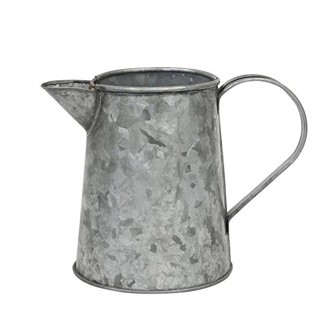 Farmhouse Small Antique Galvanized Metal Jug