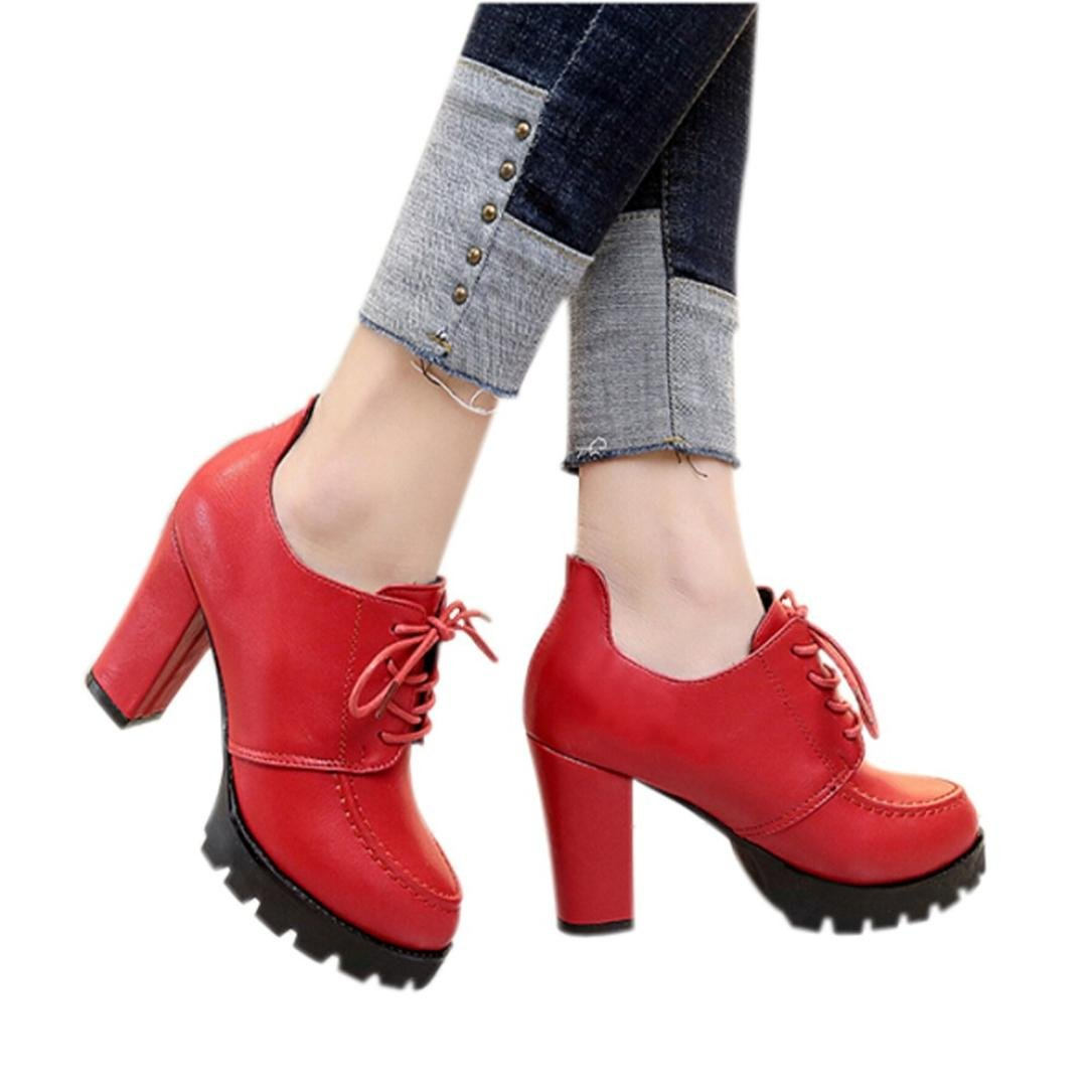 Neartime Promotion❤️Women High Heel Shoes, Fashion 2018 Solid Color Lace-up Thick Shoes British Style Girls Leather Shoes
