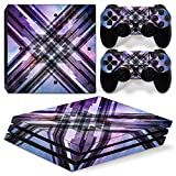 MODFREAKZ™ Console and Controller Vinyl Skin Set - Purple Blue Plaid for PS4 Pro