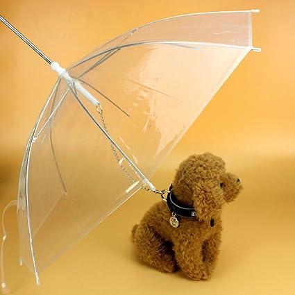 PUAK523 - Paraguas para Mascota, Cadena de tracción, Impermeable, Transparente, Paraguas para