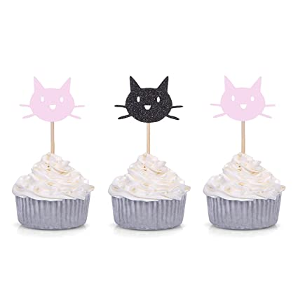 Amazon.com: Giuffi Set of 24 Black and Pink Kitten Cat Cupcake Toppers Kids Birthday Party Decors: Kitchen & Dining
