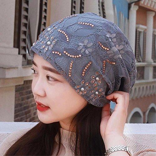 RangYR Women's Hat Ms Cap Breathable Rhinestone Lace Turban Cap sciarpa Maternity Cap Air Conditioning Cap Thin Summer Gray ()