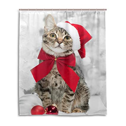 Christmas Cat Red Santas Hat Merry Shower Curtain Bathroom Home Decor Set Fabric Polyester Washable Waterproof