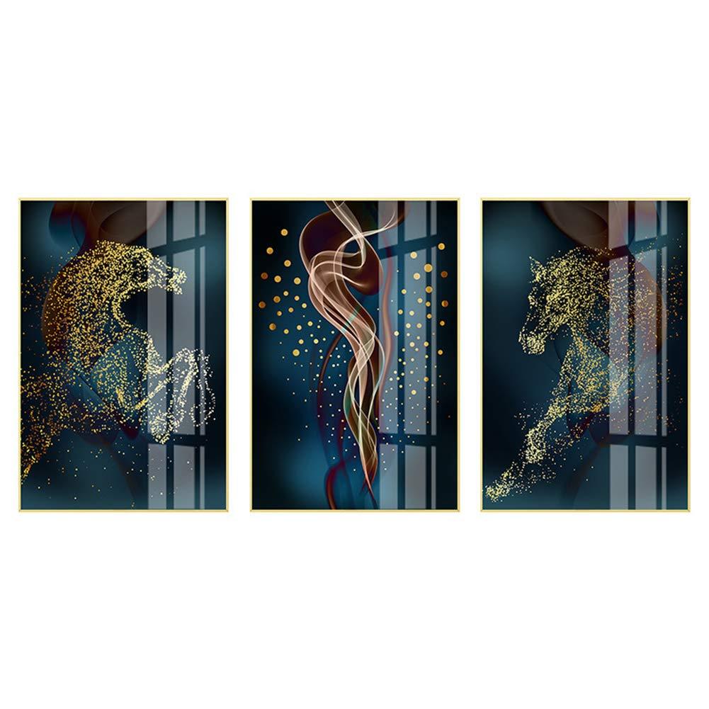 ビジュアルアートデコレーション、ダークブルーの夜空と馬の壁のアートデコレーション、リビングルームのダイニングカフェオフィスの壁の装飾、3本,13.7×15.7in 13.7×15.7in  B07S9F5T3G
