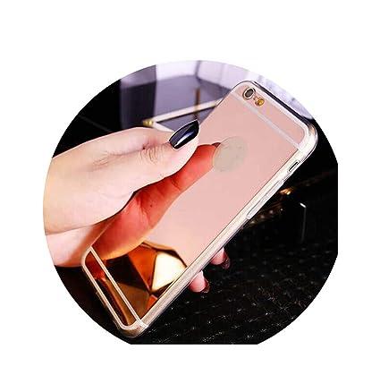 Amazon.com: Moda oro rosa lujo espejo flash carcasa de moda ...