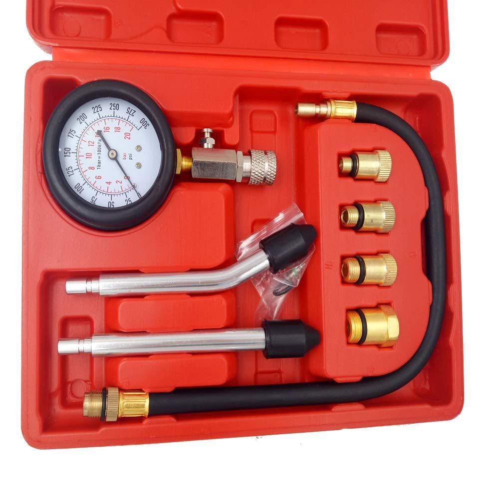CT-CARID Motor Auto Petrol Gas Engine Cylinder Compression Gauge Tester Tool Car Diagnostic Tool Pressure Measuring Gauges Tester Kit