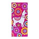 3C4G Llama Drama Terry - Toalla de Playa de algodón Aterciopelado, Color Rosa