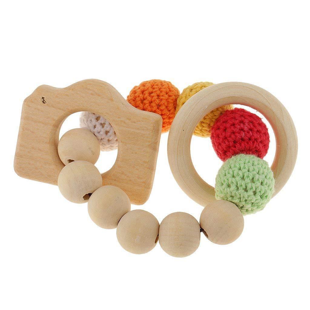 Toogoo 木製ビーズティーシングリング かわいいおもちゃ ガラガラガラ玩具 赤ちゃん用歯磨きアクセサリー1個 - マルチカラー - カメラ   B07GJ2TCCH