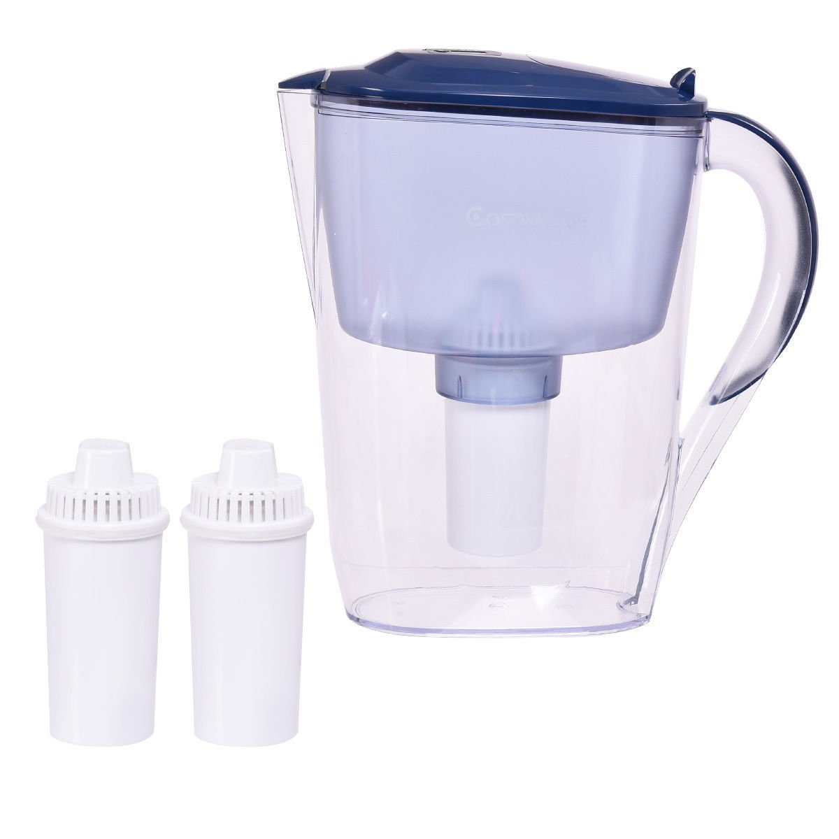 Costway 10 Cup Everyday BPA Free Water Pitcher Filter with 3 Filter (Blue)