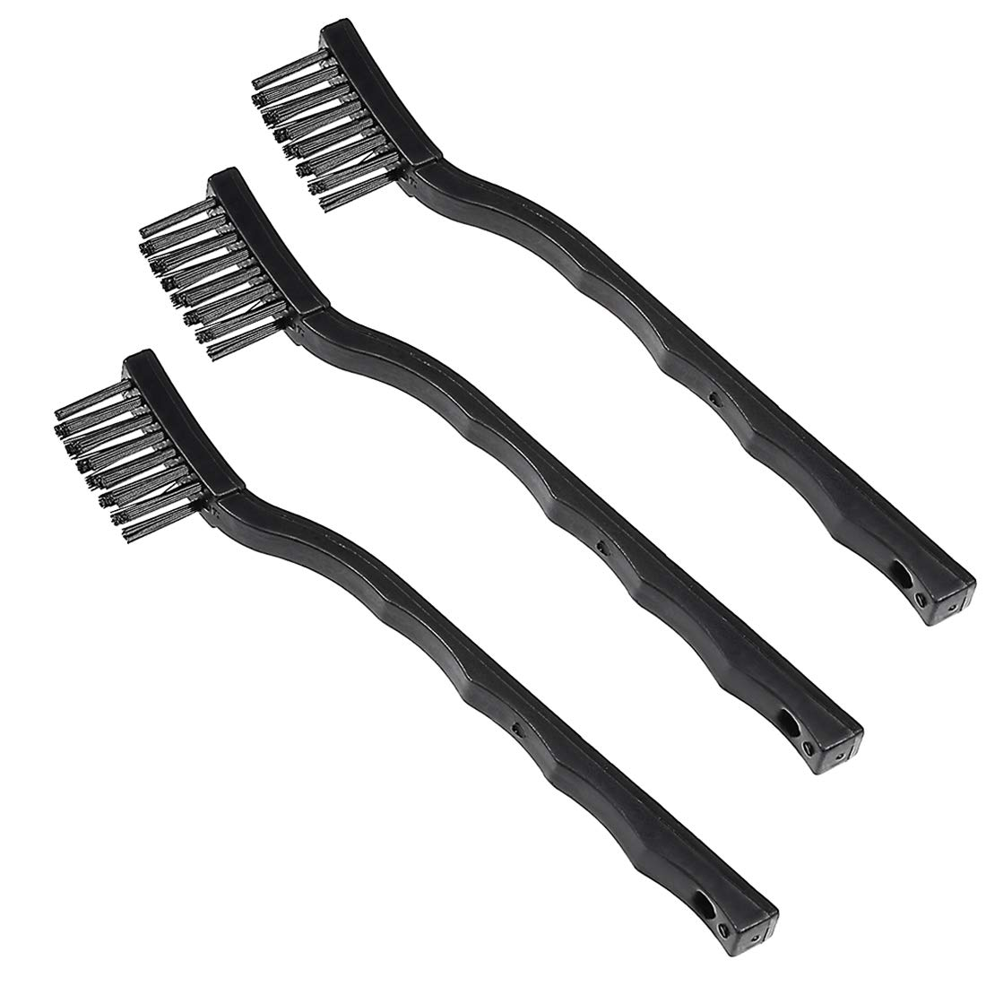 uxcell 3 in 1 Plastic Anti Static Brushes Black ESD Handle Cleaning Keyboard Brush a18061300ux0053