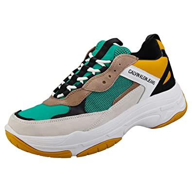 dcfc2c71243e4 Calvin Klein Jeans Mens Green/Yellow Marvin Chunky Trainers: Amazon ...