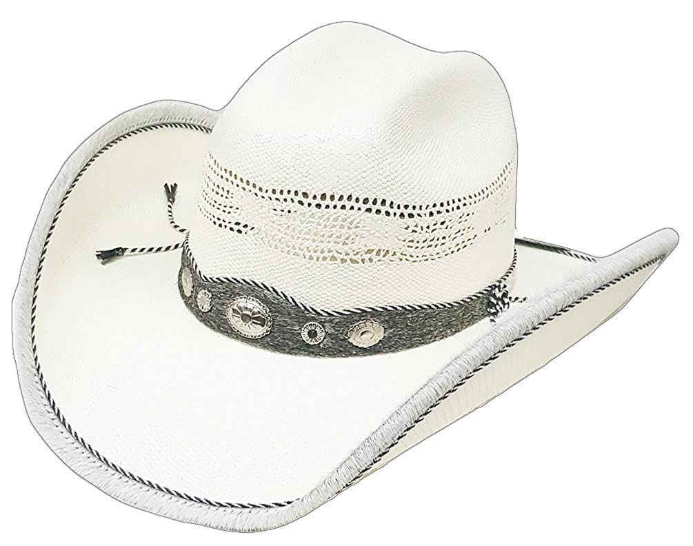 Modestone Straw Cowboy Hat Genuine Cow Leather Hair On Trim & Hatband White 310N2