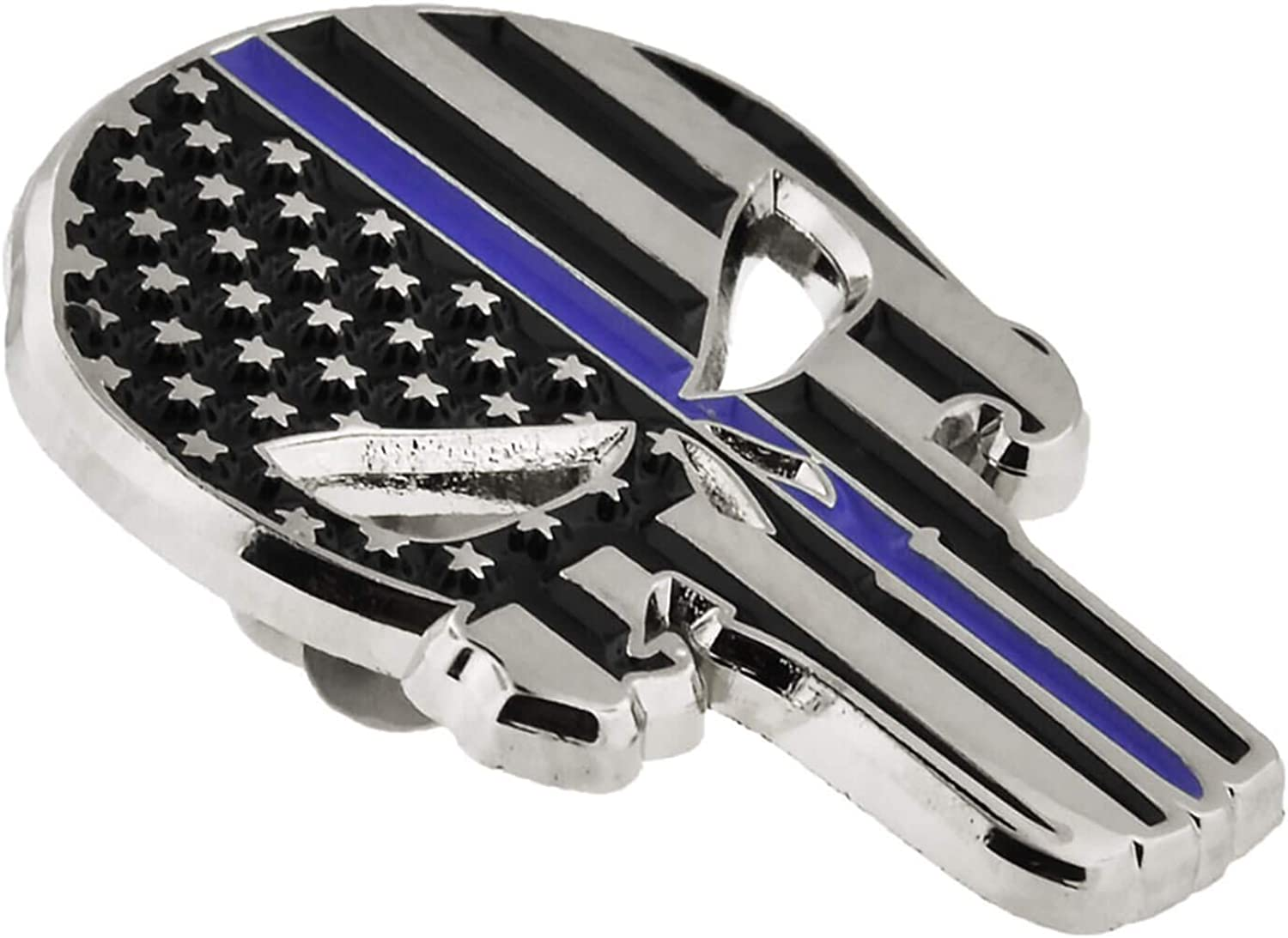 PinMart Thin Blue Line Punisher Skull Police Law American Flag Lapel Pin