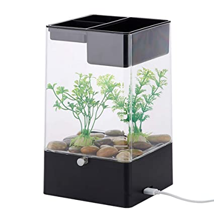 BABYSq Tanque de Peces autolimpiante, Mini Acuario en Forma de Cubo con Kit