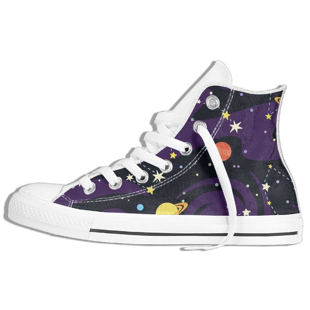 High Gang Classic Canvas Sneakers Shoes Personalized Pattern Of Constellations On Black Lace Up Unisex High Top