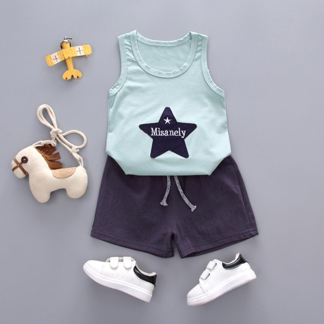 Fashion Kids Toddlers Boys Cartoon Pattern Sleeveless Vest Cotton Tops T-Shirt