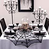 AerWo 40in Black Spider Halloween Table Cloth Halloween Decorations (Small Image)
