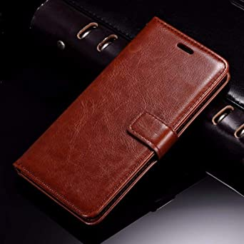 Thinkzy Artificial Leather Flip Cover Case for Motorola Moto G Plus  4th Gen  Brown  Cases   Covers