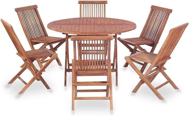 Festnight Salon De Jardin D Exterieur 1 Table Ronde Et 6 Chaises
