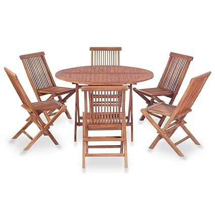 Festnight Salon de Jardin d\'extérieur 1 Table Ronde et 6 ...