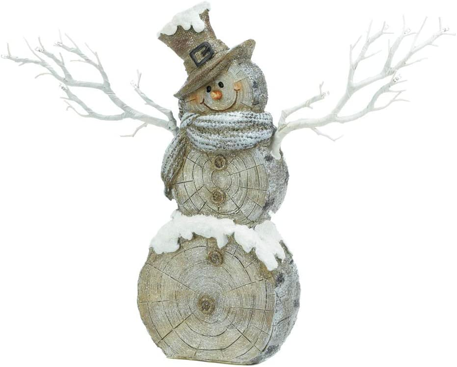 Multicolor Christmas Collection 10018583 Snowman Statue with Twig Lights