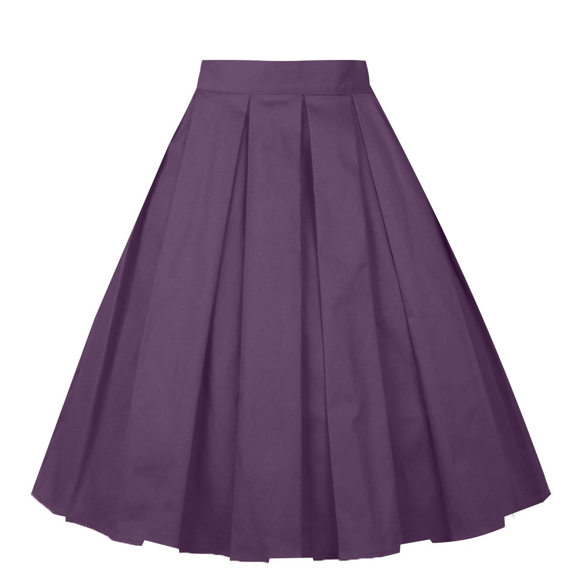 Girstunm Women's Pleated Vintage Skirt Floral Print A-Line Midi Skirts with Pockets Deep-Purple XXX-Large
