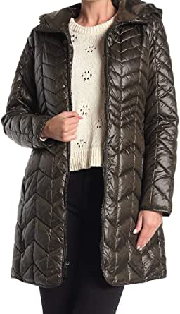 Kenneth Cole Women's Hooded Chevron Quilted Lightweight Puffer Coat with Chunky Zipper