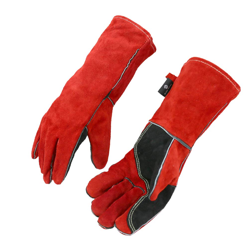 OLSONDEEPAK Welding Gloves with Kevlar Stitching, Genuine Leather Extreme Heat Resistant Glove for Fireplace, Stove,Oven,Grill, BBQ, Mig, Pot Holder, Animal Handling (Medium Red(For women))