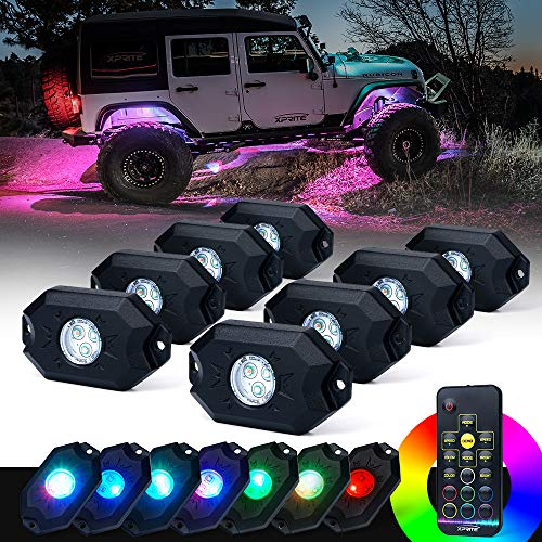 Xprite 8PCs LED RGB Rock Light Kit with Wireless Remote Control, Flashing, Auto Scroll Modes, Multicolor Neon Lights Pod for Underglow Off Road, Truck, JEEP, UTV, ATV, SUV (Rgb Led 1000 Pcs)