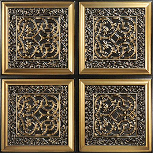Lover's Knot-Faux Tin Ceiling Tile - Antique Gold 25-Pack by Decoraids (Image #1)