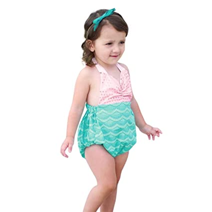 00f408778 Simayixx Baby Kid Girls Mermaid Bow Halter Bikini Set One Piece Swimwear  Swimsuit Bathing Suit (