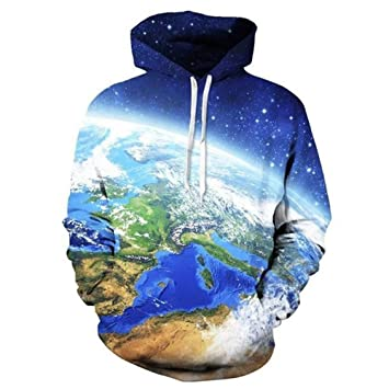 FGVBWE4R The World Map Globe Blue Earth 3D All Over Impreso Hoodies Bolsillos Sudadera Street Wear