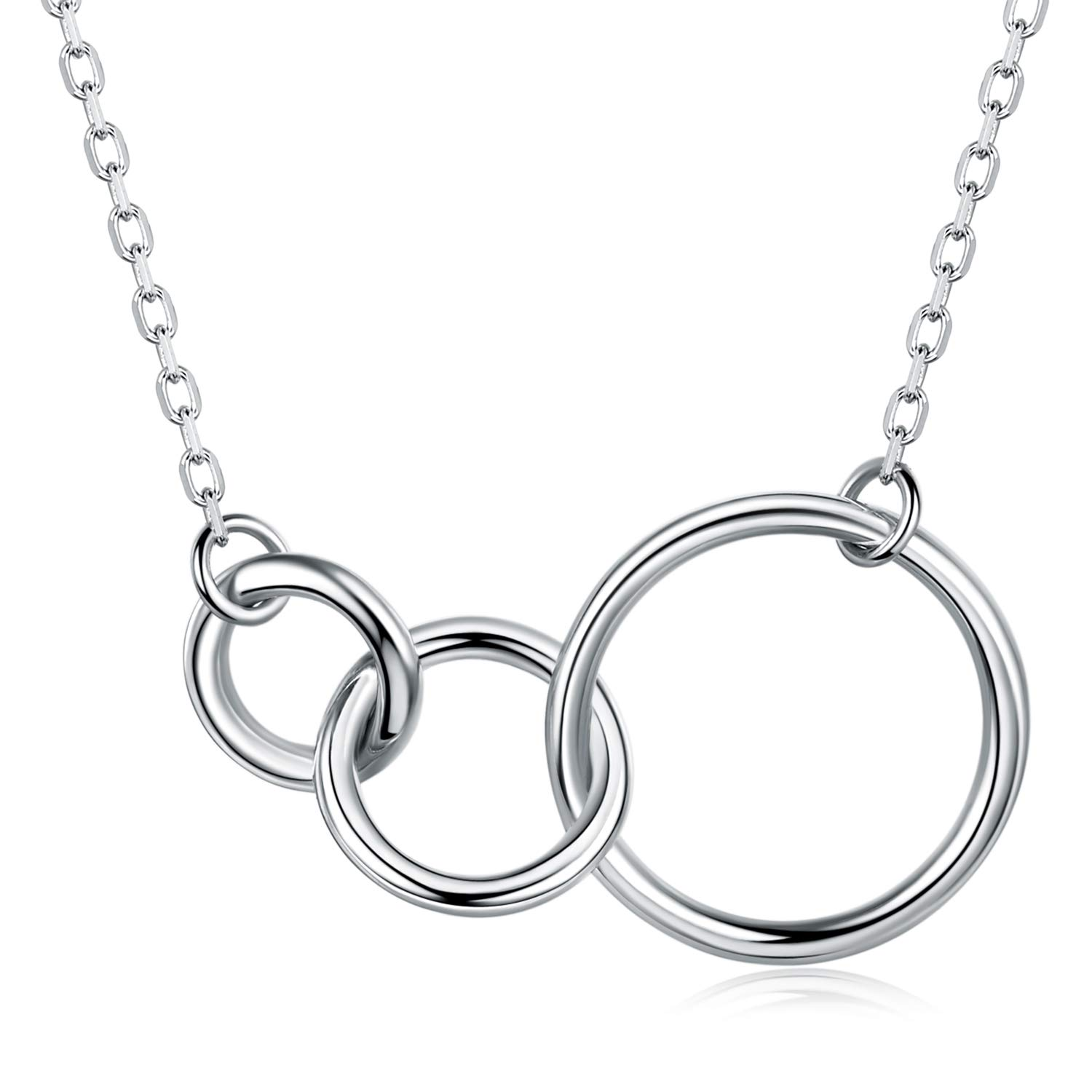 Billie Bijoux 925 Sterling Silver 3 Interlocking Infinity Circles Necklace White Gold Plated Pendant Family Love Friendship