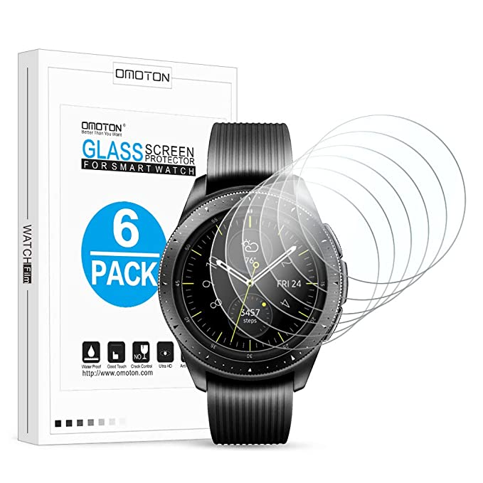 [6 Pack] OMOTON Screen Protector for Samsung Galaxy Watch (42mm) / Gear Sport/Gear S2 - Tempered Glass Screen Protector [Full Coverage] [Bubble Free] ...
